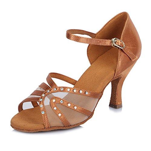 HROYL Zapatos de baile/Zapatos latinos de satén mujeres ES-4500 Marrón