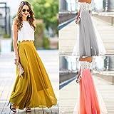 Howstar Chiffon Stretch High Waist Long Maxi Skirt