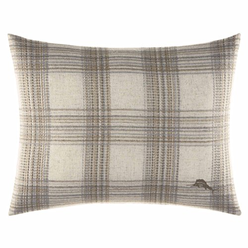 Tommy Bahama Raffia Palms Plaid Woven Throw Pillow, 16 x 20, Natural ()