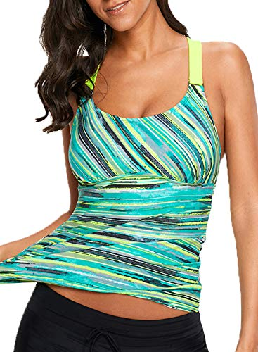 HOTAPEI Push Up Tankini Tops Swimsuits for Women Tummy Control Tie Dye Print Strappy Sport Swim Top Swimsuit Tops Bathing Suit Tops for Women Swimwear Top Beachwear Open Back Green Small