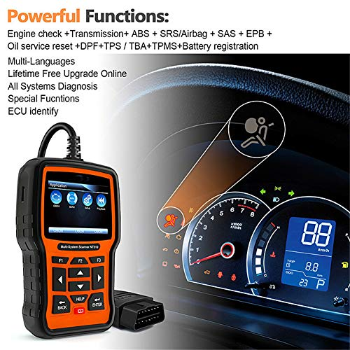 (Car Universal Obdii Scanner, Auto Diagnostic Code Reader, Full System OBD2 Car Diagnostic Tool Automotive Scanner ABS Airbag Crash Date Oil Reset Scanner)