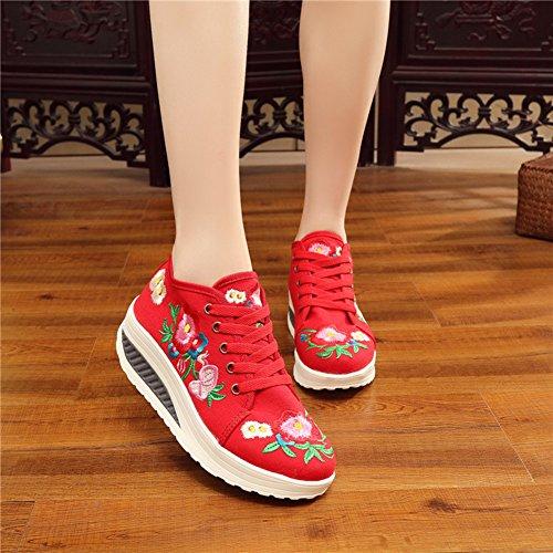 Avacostume Vrouwen Borduren Lace-up Platform Casual Sneaker Schoenen Rood