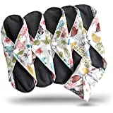 Heart Felt Panty Liners Bamboo Reusable Cloth Menstrual Pads (Floral Print, 5 Pack) Charcoal Absorbency Layer. This waterproof backed, soft and comfortable panty liner will give you total confidence for menstrual, urine light leaks. Protect underwear with incontinence pads, without wasting money and creating plastic waste. Washable, Reusable Cloth Sanitary Pads. Unscented Cloth Panty Liners