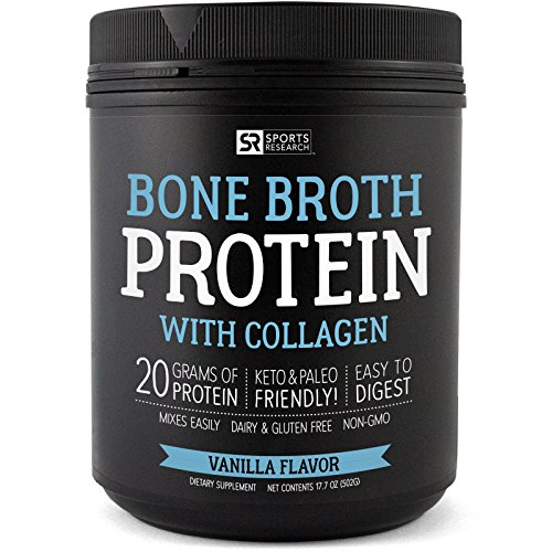 NEW! Bone Broth Protein with Collagen (Vanilla Flavor) ~ Paleo & Keto diet approved ~ For Healthy Skin, Joints & Muscles ~ Gluten, GMO & Dairy Free