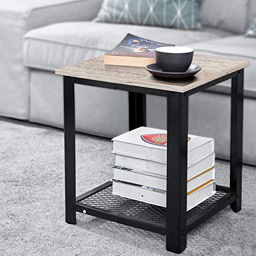AOOU End Table 2 Tier End Tables with Shelf, Industrial Side Table with Sturdy Structure and Easy Assembly for Living Room Bedroom, 18.2 x 15 x 15.7 in, Wooden Grey