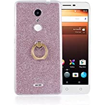 Alcatel A3 XL Case,Gift_Source [Ring Holder Kickstand] Slim Thin Flexible Bling Glitter Sparkle TPU Rubber Gel Case Shock-Absorption Clear Soft Bumper Cover Skin for Alcatel A3 XL (6.0 inch) [Pink]
