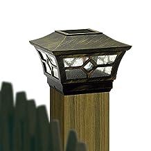 "CHEEKON Square Fences Post Caps 4 ""x 4 "" Solar Light,Outdoor Garden Decks Bridges,Magnesium alloy,Glass Pane,Bronze"