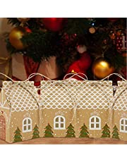 Your's Bath 50 stuks kerst kraftpapier snoepdozen, kerstfeest geschenkdozen met henneptouw kerstfeest gunstdozen voor feestgunsten geschenkverpakking decor