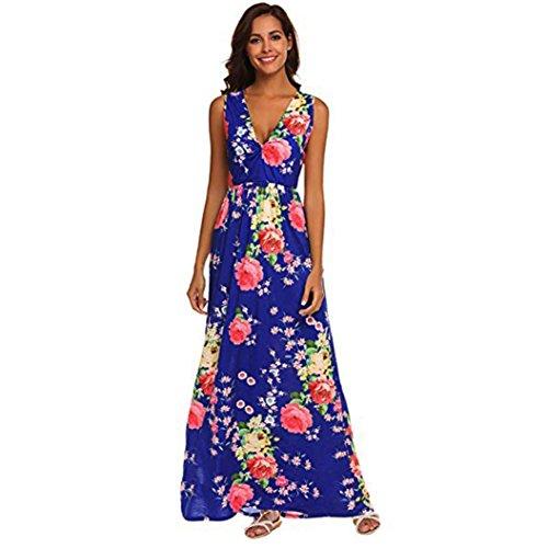 SHOBDW Mujeres de la Manera del Verano Floral Impreso Bohemio con Cuello en V sin Mangas Maxi Delgados Delgados del Vestido Ocasional Azul
