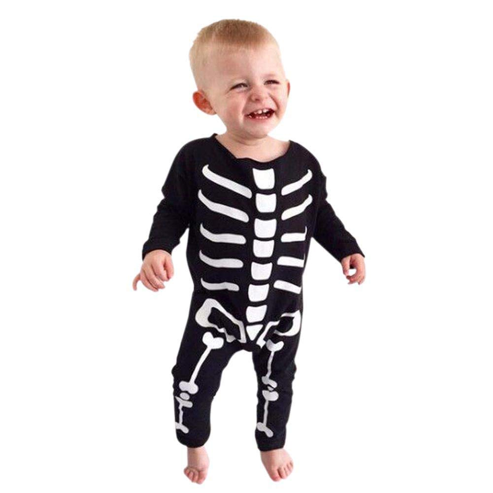 Baywell Infant Baby Boy Halloween Bone Pattern Print Long Sleeve Romper