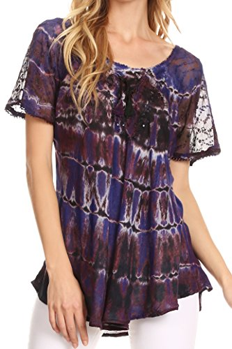 Sakkas 17786 - Isayan Multi Color Embellished Tie Dye Sheer Cap Sleeve Tunic Top - 7-Indigo - OS