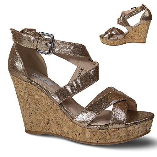 Schuhtraum Damen Sandalen Keilabsatz Wedge Sandaletten Plateau High Heels ST28 Champagner