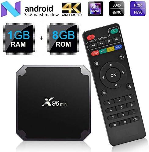x96mini TV Box 4 K H.265 Pantalla Android 7.1.2 Quad Core HD 2.0 1 + 8GB WiFi Smart TV Box: Amazon.es: Electrónica