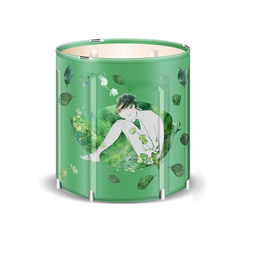 Li Li Zhao Outdoor Bathtub-Bubble Bucket Folding Adult Household Insulation Bath Barrel Children Bath Barrel Full Body Bath Barrel Plastic Bath Tub -# (Color : B, Size : 65x70cm)