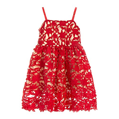 Red Crochet Lace - belababy Red Girl Dress Crochet Lace Summer Sundress