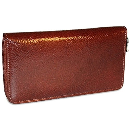 Jack Georges Milano Collection Large Zip Around Clutch Wristlet Cognac