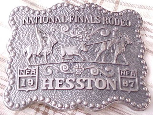 1987 Hesston/National Finals Rodeo Belt Buckle -- Pewter -- Team Roping -- Brand New/Original packaging -- Never Worn!