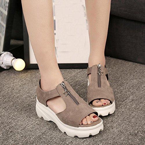 Sandalias para Mujer, RETUROM Peces de las mujeres boca verano Casual plataforma sandalias zapatos Caqui(Tela de algodón)