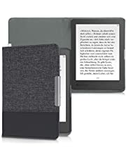 kwmobile Case Compatible with Kobo Aura Edition 1 - PU Leather and Canvas e-Reader Cover - Anthracite/Black