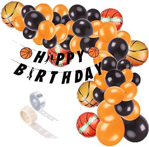 Formemory 誕生日 飾り付け バルーンアーチ 風船 バスケットボール 100点セット NBA バルーンアーチ ガーランド バルーン Happy Birthday パーティー デコレーション