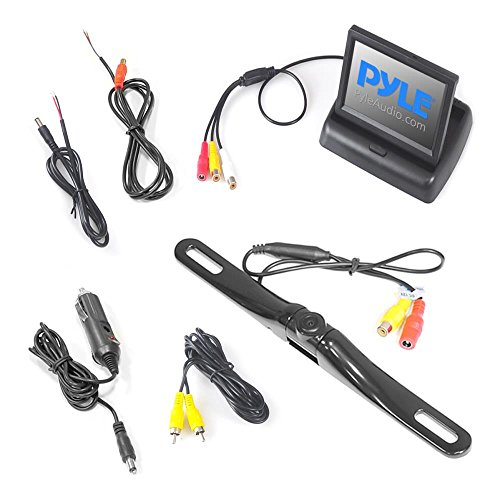 Pyle Rear Car Camera Monitor System Parking Reverse Safety Distance Lines, Waterproof, Pop-up Video Color Display Vehicles