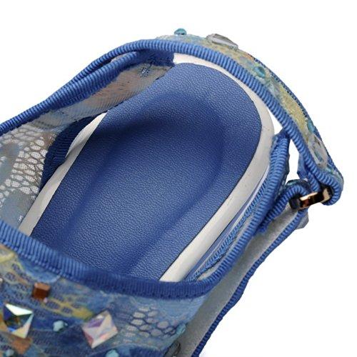 weiches Chunky Heels verschiedene Plattform Sandalen Material Farben Heel blau High 3 Open UK Mesh Toe VogueZone009 Womens 5 wx0qSYz0