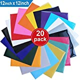 Heat Transfer Vinyl for T-Shirts , 20 Pack - 12'x 12' Sheets - 18 Assorted Colors , Iron On HTV for Cricut and Silhouette Cameo