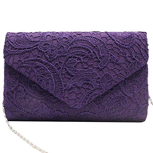 Clutch Purple Bag Shoulder Prom Ladies Wocharm Lace handbag Clutch Bridesmaid amp; TM Wedding Chain Party Womens qBwaZ6S