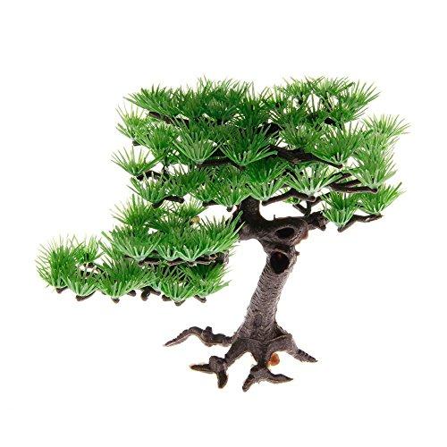 Image of Saim Artificial Pine Tree Plastic Plant Decor for Aquarium Fish Tank Bonsai Ornament Green 5.9
