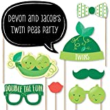 Big Dot of Happiness Custom Double the Fun - Twins Two Peas in a Pod - Photo Booth Props - Personalized Baby Shower or First Birthday Party Supplies - 20 Selfie Props