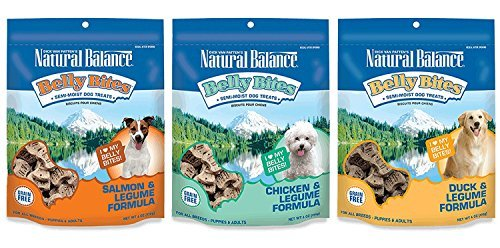Moist Natural (Dick van Patten's Natural Balance Belly Bites Grain Free Semi-Moist Dog Treats 3 Flavor Variety Bundle: (1) Chicken & Legume, (1) Duck & Legume, and (1) Salmon & Legume, 6 Ounces Each (3 Bags Total))