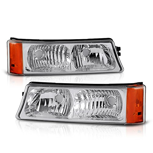 VIPMOTOZ Front Bumper Fog Light Assembly For 2003-2006 Chevy Avalanche & Silverado 1500 2500 3500, Metallic Chrome Housing, Driver and Passenger Side
