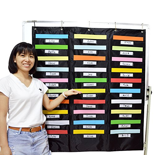Godery School Pocket Chart, 30 Signatory Pocket, Heavy Duty Hanging File Folders Pocket Chart Cascading Organizer & 5 Hangers Hooks, Perfect for Classroom, School, Office or Home Use by Godery (Image #5)