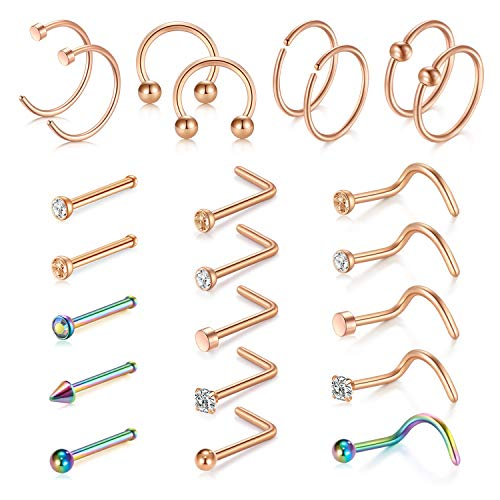 Flat Ring Cbr - D.Bella 18G Nose Rings Hoop Stainless Steel L-Shaped Nose Rings Studs Screw Nose Piercing Tragus Cartilage Helix Earrings Hoop Piercing Jewelry Set 23pcs