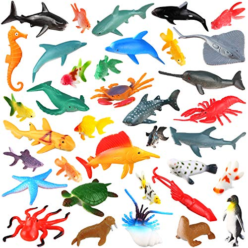 [36 Pack] Ocean Sea Animals Bath Toys for Party Favor Supplies - 2-4 inch Rubber Ocean Creatures Figures with Marine Octopus Shark Fish Sea Life for Child Education, Party Bag Filler, Birthday Gift ()