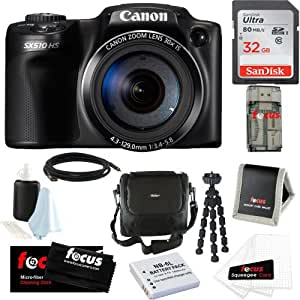 Canon Powershot SX510 HS CMOS 12.1MP w/ 30x Optical Zoom Digital Camera + 32GB Deluxe Accessory Kit