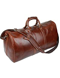 Baigio Men's Brown Leather Gym Sports Weekend Travel Duffel Bag Boarding Bag