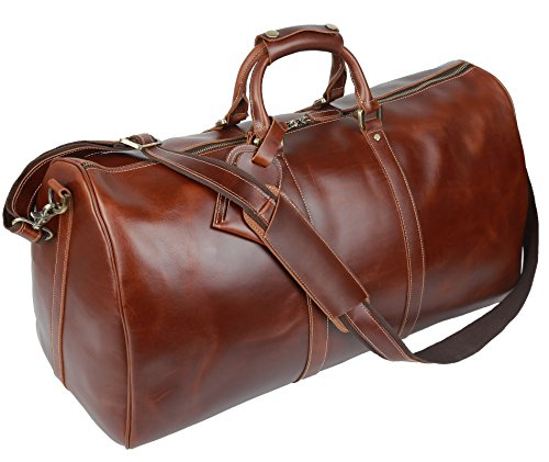 BAIGIO Men's luxury Leather Weekend Bag Travel Duffel Oversize Tote Duffle Luggage (Brown) by BAIGIO