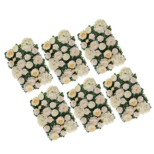 - SM SunniMix Pack of 6 Upscale Silk Rose Flower Wall Panel Wedding Backdrop Photo Prop Champagne