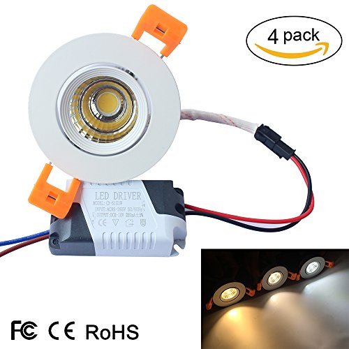 LightingWill 4-Pack 3W CRI80 LED Downlight Non-Dimmable COB Directional Recessed Kit 230LM Cut-out 2in(51mm) 60 Beam Angle 5500K-6000K Cool White 25W Halogen Bulbs Equivalent DXB-PW3WN4