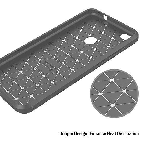 COOSA Funda para Huawei P8 Lite (2017), suave silicio de amortiguación de lujo de la caja cepillada de lujo con textura cubierta de protección de diseño de fibra de carbono Case caso para Huawei P8 Li gris