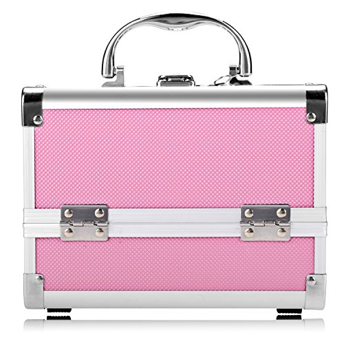 Bazal Small Makeup Train Case Travel Makeup Box for Girls Women Aluminum Cosmetic Box Jewelry Box with Mirror + 2 Keys, 7.8 x 6.05 x 6.05inch, Pink by Bazal (Image #7)