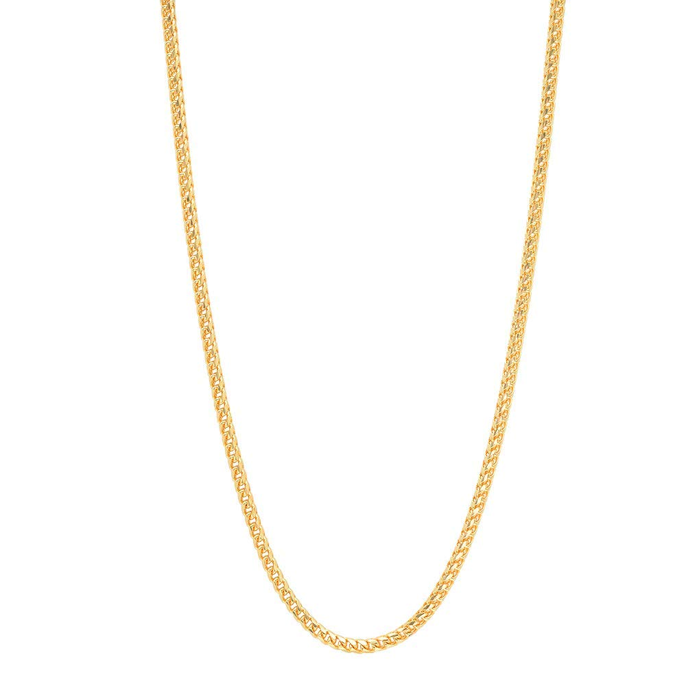18K Yellow Gold 2.0MM Franco Square Box Link Chain Necklace- 18K Gold- Available in 16''-30'' (24)