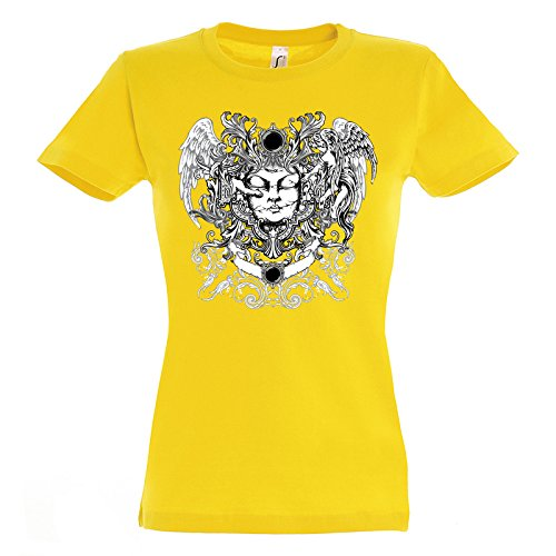 Awesome God Design Style Angels Repair The Face Women Damen Yellow T-shirt