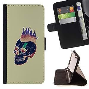 Momo Phone Case / Flip Funda de Cuero Case Cover - Pelo Punk Oro Cráneo Muerte Negro - Samsung Galaxy S6