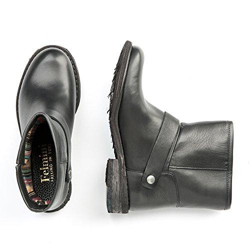 Felmini - Damen Schuhe - Verlieben Gredo 9216 - Cowboy & Biker Stiefelette - Echte Leder - Schwarz
