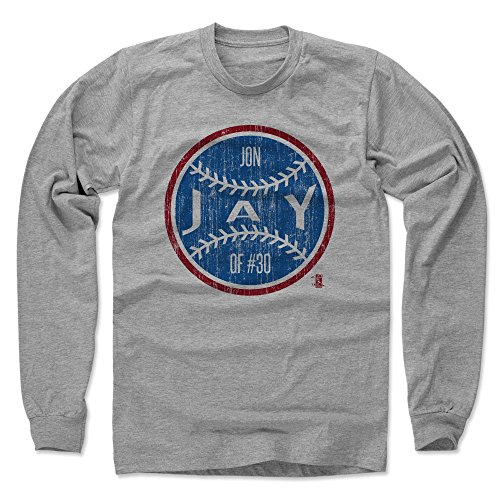 500 LEVEL's Jon Jay Long Sleeve T-Shirt L Heather Gray - Jon Jay Chicago Ball B - Chicago Baseball Fan Gear