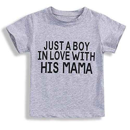 Toddler Baby Boy Girl Clothes Short Sleeve T-Shirt Love Letter Top Outfits (Grey & B, 4-5 Years) -