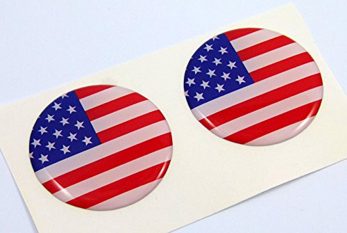 (USA American flag Round domed decal 2 emblem Car bike stickers 1.45