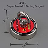 MUTUACTOR Fishing Magnet 400lb Magnetic Pull Force, Heavy Duty Neodymium Magnet N52 with 66 Feet(20m) Durable Rope and Waterproof Gloves, Powerful Strong Magnetic of Retrieving Treasure in Rivers